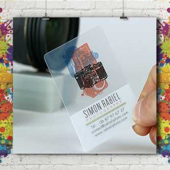 Carte Visite 8.5x5.4 - PVC transparent