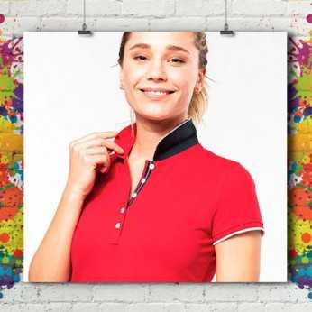 Polo MC Bicolore Liseré Premium - Femme